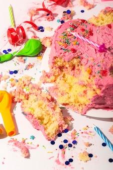 Birthday concept with cake high angle