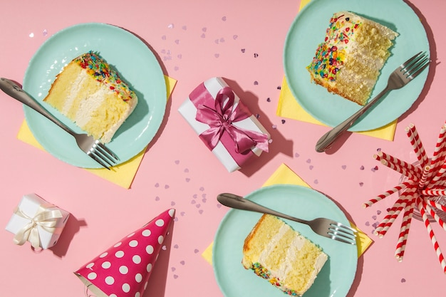 Birthday concept with delicious cake above view