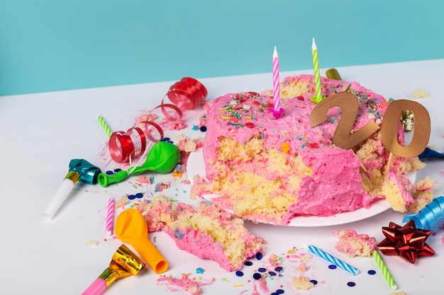 Birthday concept with tasty cake