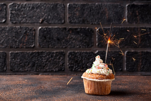 Birthday cupcake with cream and sparkler