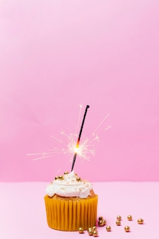 Birthday cupcake with pink background