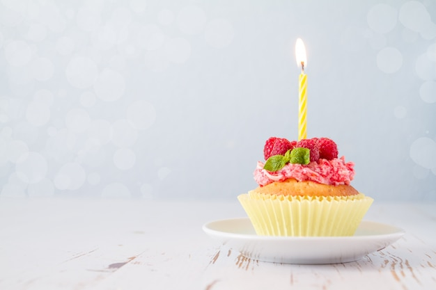 Birthday cupcake with raspberry and candy