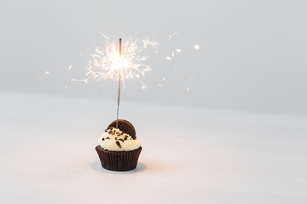 Birthday cupcake with sparkler over white wall with copy space