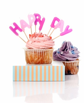 Birthday cupcakes with colorul latters