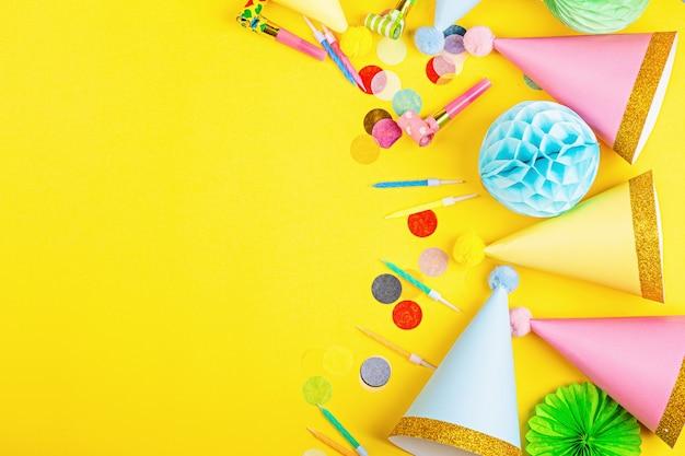 Birthday decor on yellow background
