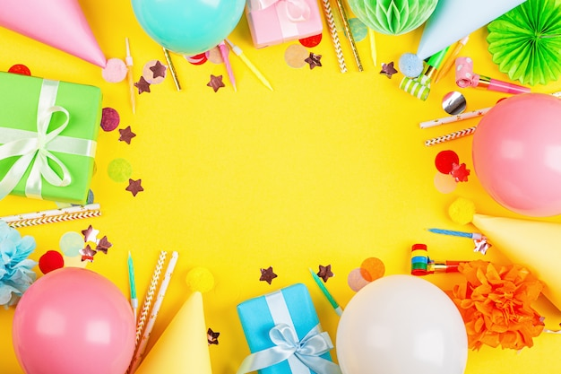 Birthday decor on yellow background