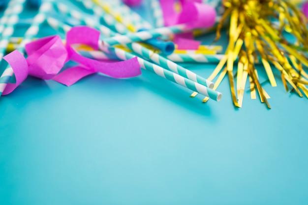 Birthday decoration on blue background