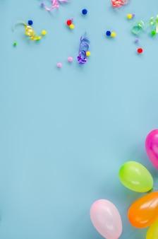 Birthday decoration on blue surface