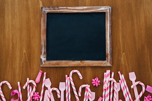 Birthday decoration with blank slate and candy canes