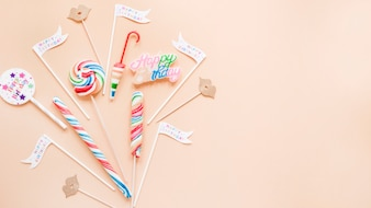 Birthday decorations and lollipops