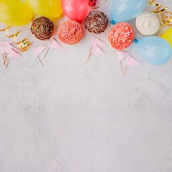 Birthday decorations lying in line
