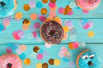 Birthday donut with confetti