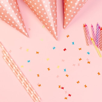 Birthday elements on pink background