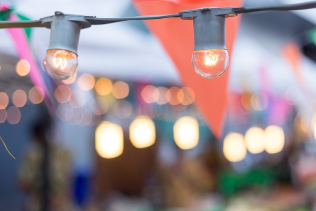 Birthday garden party, lights bulb, party flags