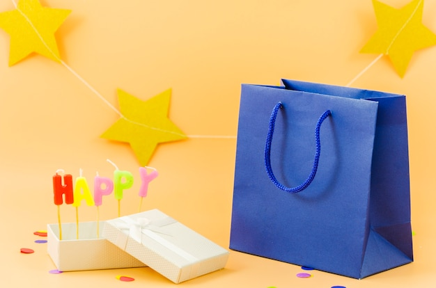 Birthday gift bag with candles