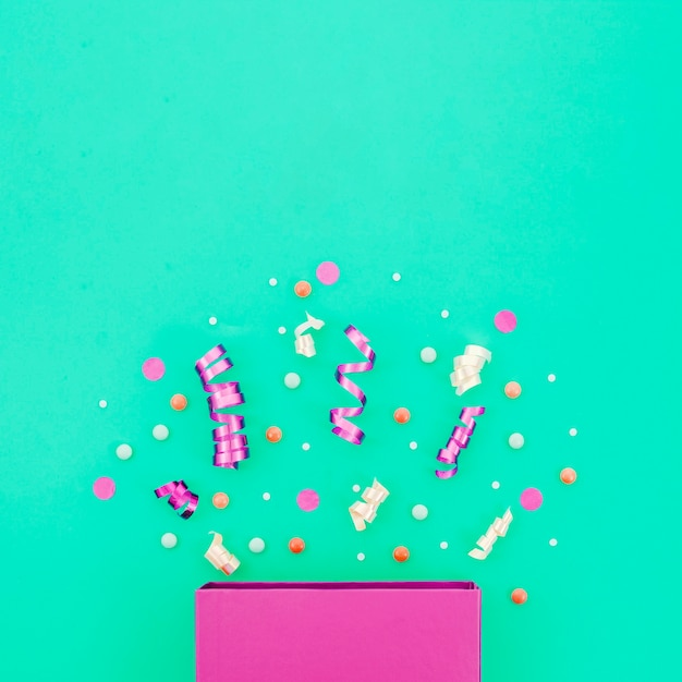Birthday gift box with confetti