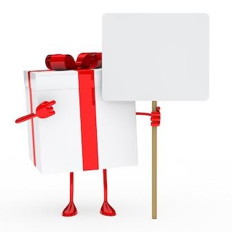 空白のプラカードを示す誕生日プレゼント