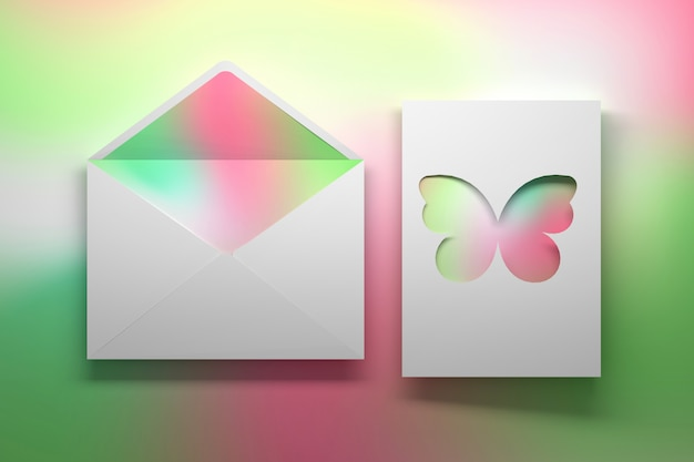 Birthday greeting card with butterfly and envelope