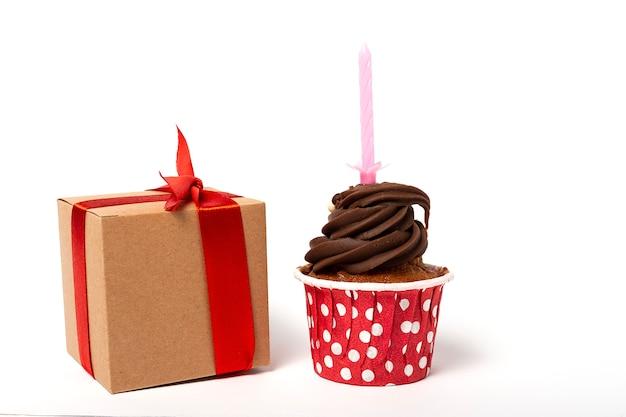 Birthday homemade cupcake with candle