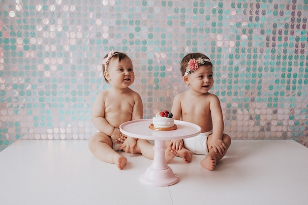 Birthday of a little girl. one year old. sweet
