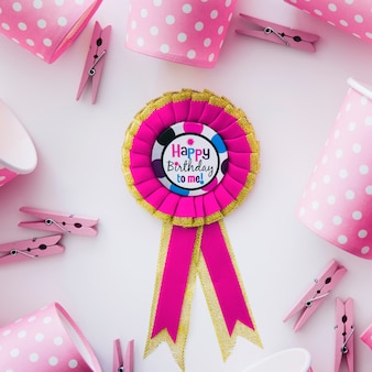 Birthday medal and pink party stuff