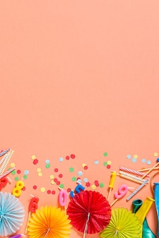 Birthday party background of coral color.