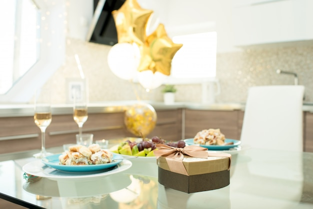 Birthday party decoration, food and gift