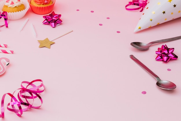 Birthday party decoration on pink background