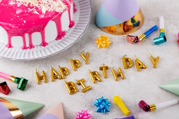 Birthday party items and cake assortment