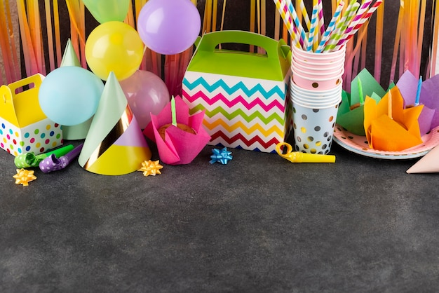 Birthday party items with copy space
