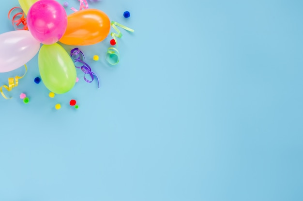 Birthday party with balloons and confetti