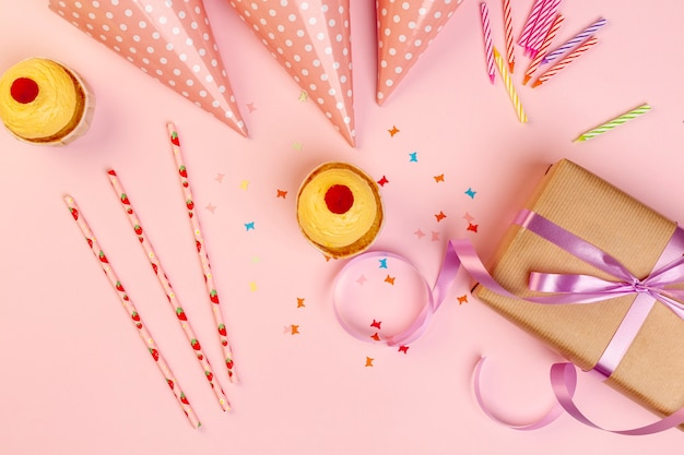 Birthday present and colorful party accessories
