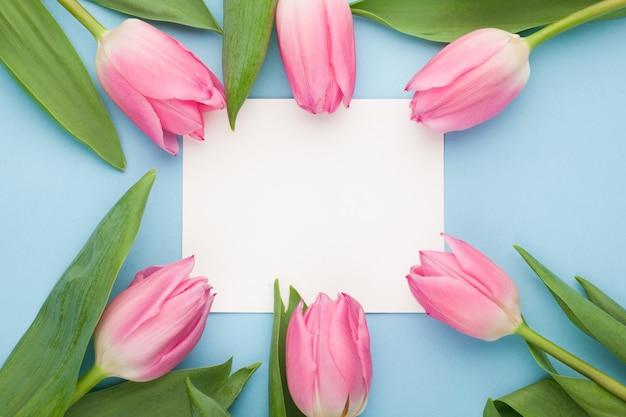 Birthday or wedding mockup with tulip.