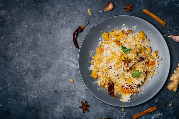 Biryani rice (vegetable biryani). indian basmati rice, curry vegetables and spices. indian kitchen