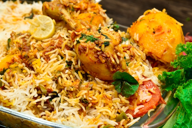 Biryani with chicken potatoes any many other spices
