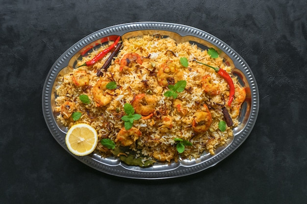 Biryani with shrimp. tasty and delicious prawns biryani, top view