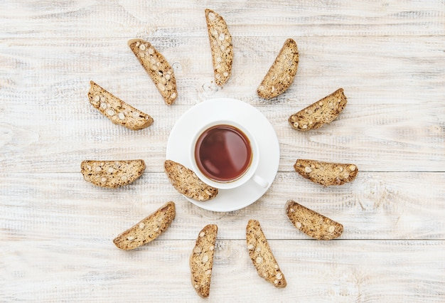 Biscotti on a light background. tasty breakfast. selective focus.