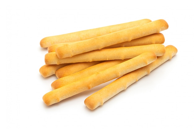 Biscuits bread stick on white table