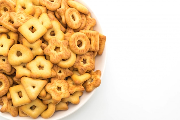Biscuits cracker on white background
