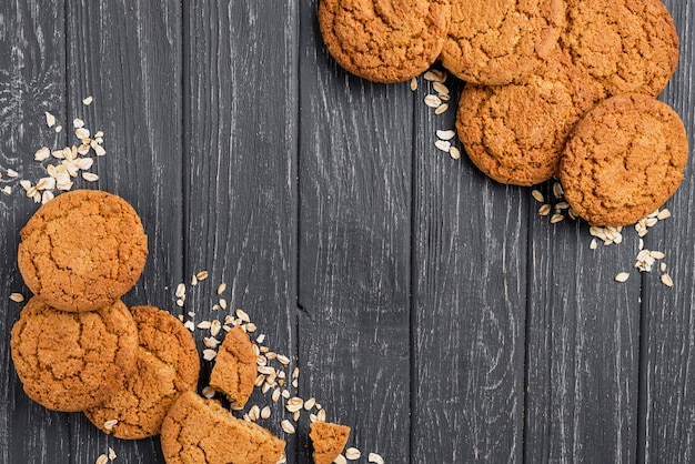 Biscuits and crumbs with copy space background