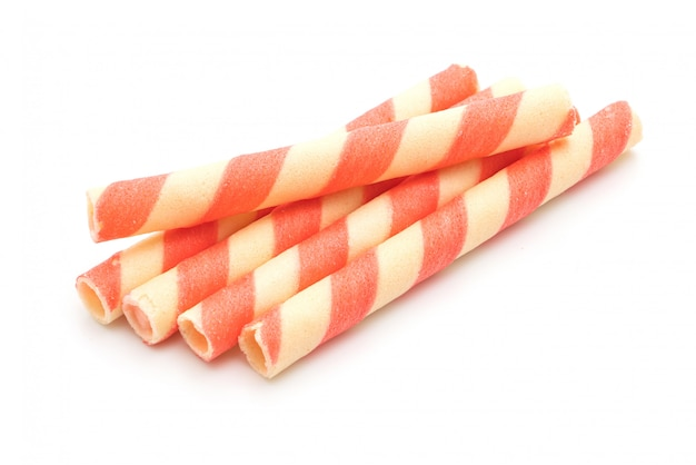 Biscuits wafer stick with strawberry cream flavour