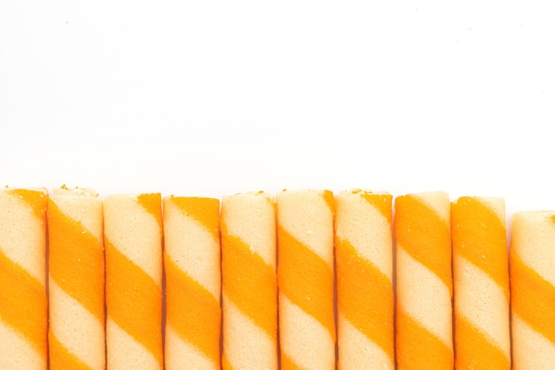 Biscuits wafer sticks with orange cream flavour