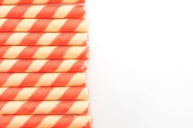 Biscuits wafer sticks with strawberry cream flavour
