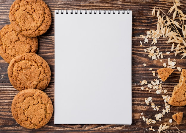 Biscuits and wheat with copy space background