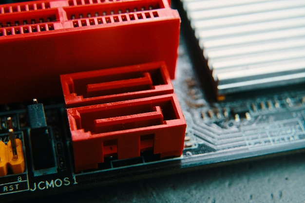 Bishkek, kyrgyzstan - june 28, 2019: sata connector.  micro circuit motherboard.