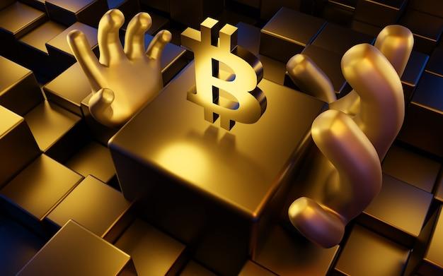 ビットコイン(ãâ¸âºbtc)コインシンボル、デジタル通貨、3dイラスト