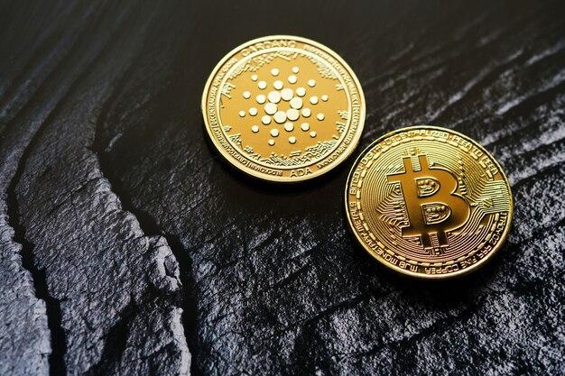 Bitcoin 및 cardano 암호 화폐 및 복사 공간