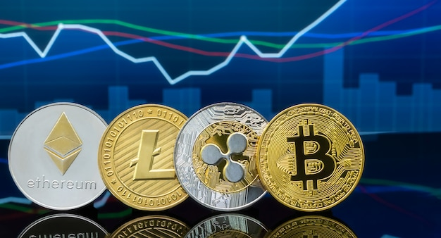 Концепция инвестирования в биткойны и криптовалюты.