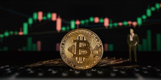 Bitcoin 및 증권 거래소 그래프 배경 암호 화폐 거래에서 위험과 부가 발생할 수 있습니다