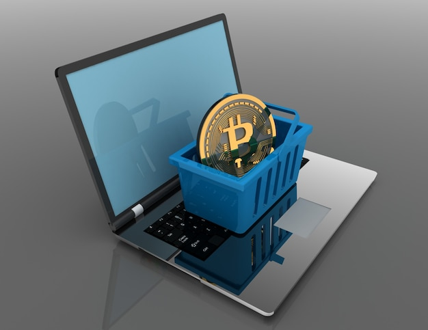 Bitcoin in basket on laptop. 3d rendered illustrartion